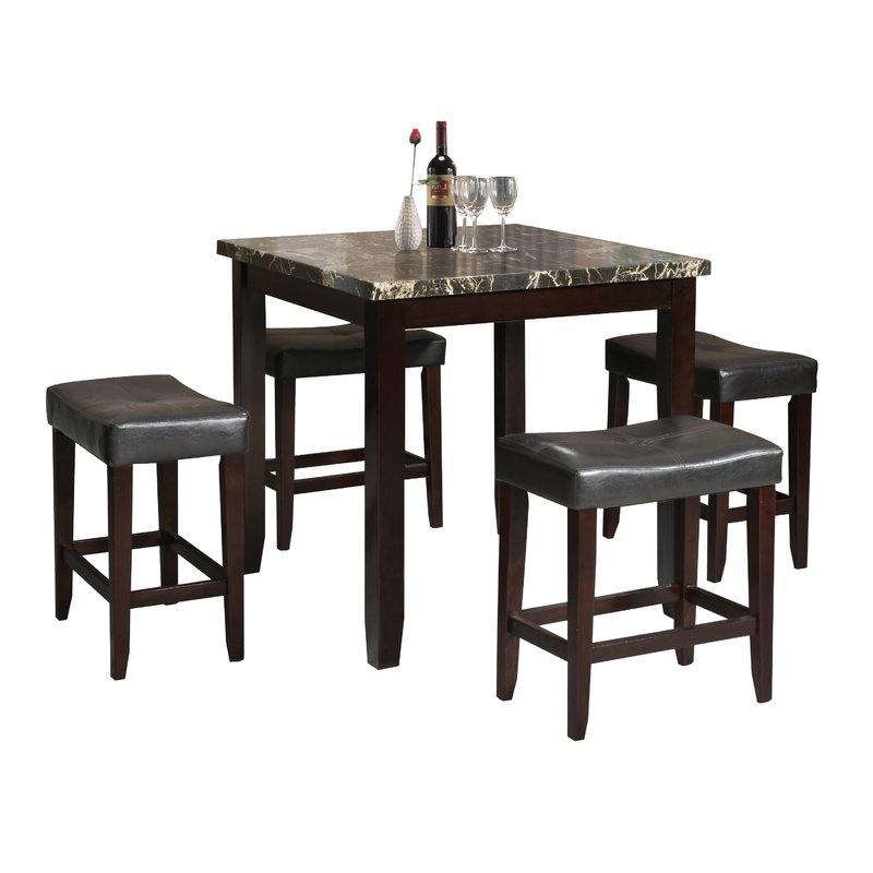 Dehaven 5 Piece Counter Height Dining Set & Reviews (Gallery 10 of 20)