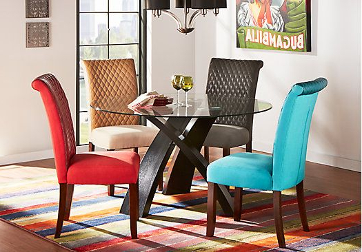 Del Mar Ebony 5 Pc Round Dining Set With Red Chairs (Gallery 1 of 20)