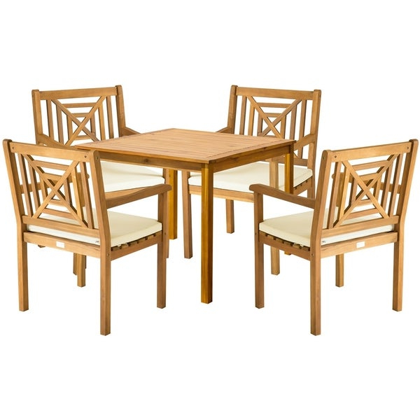 Delmar 5 Piece Dining Sets For Famous Shop Safavieh Outdoor Living Del Mar Brown Acacia Wood 5 Piece Beige (View 3 of 20)