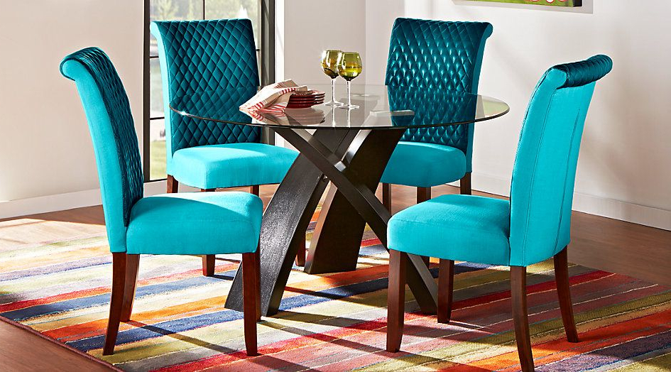 Delmar 5 Piece Dining Sets Regarding Latest Del Mar Ebony 5 Pc Round Dining Set With Blue Chairs In 2019 (Gallery 4 of 20)
