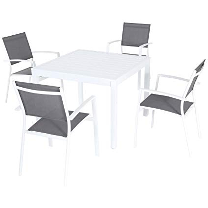 Delmar 5 Piece Dining Sets Within Favorite Amazon: Hanover Deldns5Pcsq Ww Del Mar 5 Piece Dining Set, Gray (View 7 of 20)