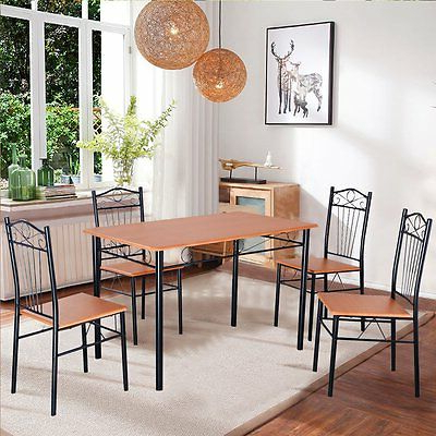 Dining Set With Table 4 Chairs Stable Kitchen Furniture Diy 5 Pieces Pertaining To Most Recent Tavarez 5 Piece Dining Sets (Gallery 12 of 20)