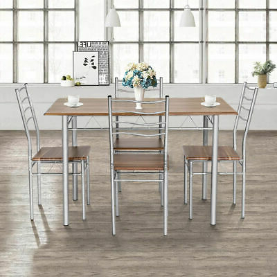 Dining Set With Table 4 Chairs Stable Kitchen Furniture Diy 5 Pieces With Regard To Most Popular Tavarez 5 Piece Dining Sets (Gallery 18 of 20)