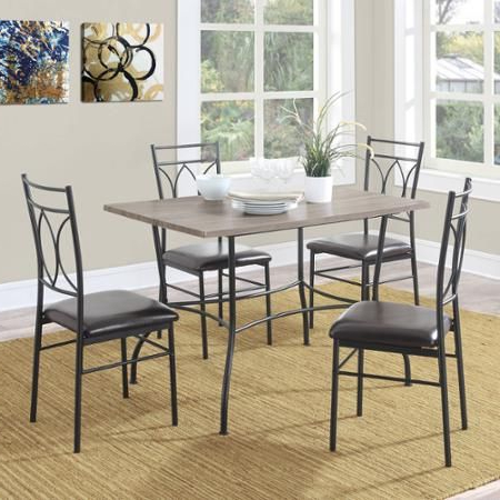 Dorel Living Shelby 5 Piece Rustic Wood And Metal Dining Set With Well Known Wiggs 5 Piece Dining Sets (Gallery 16 of 20)