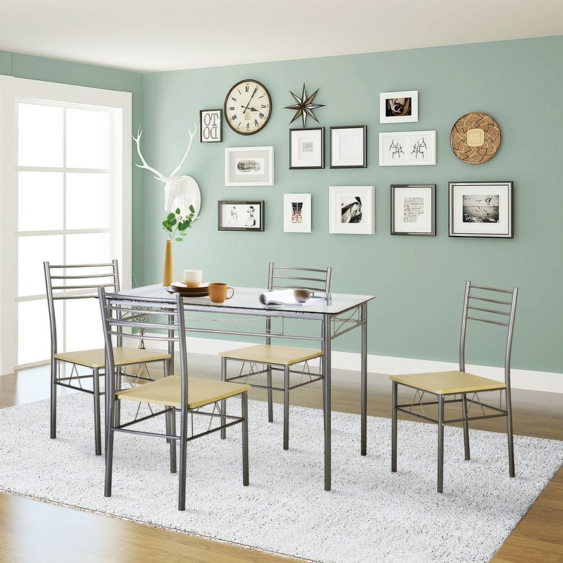 Ebern Designs Liles 5 Piece Breakfast Nook Dining Set & Reviews Within Best And Newest Turnalar 5 Piece Dining Sets (View 6 of 20)