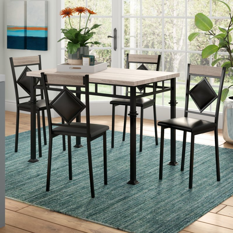 Ebern Designs Tavarozzi 5 Piece Dining Set & Reviews (Gallery 13 of 20)