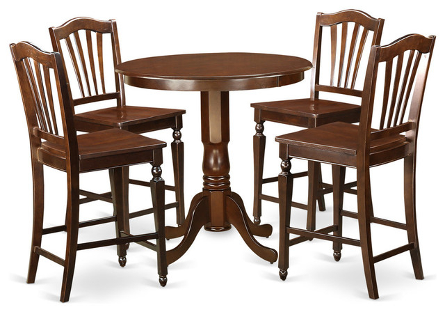 Evellen 5 Piece Solid Wood Dining Sets (Set Of 5) Pertaining To Well Known Evelyn Counter Height Dining Table Set, Mahogany, 5 Pieces (Gallery 4 of 20)