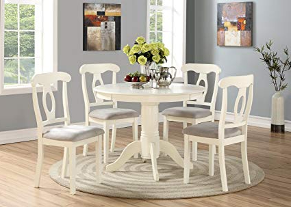 Famous 5 Piece Dining Sets Pertaining To Amazon – Angel Line 23511 21 5 Piece Lindsey Dining Set, White (View 8 of 20)