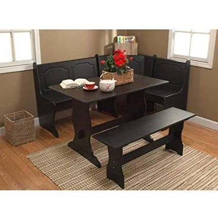 Famous Amazon : Breakfast Nook 3 Piece Corner Dining Set, Black Throughout Maloney 3 Piece Breakfast Nook Dining Sets (View 10 of 20)
