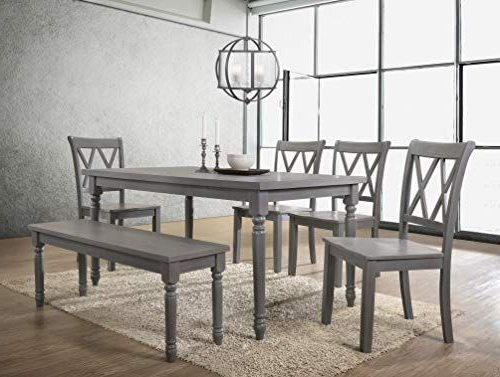 Famous Best Master Furniture Paige 6 Pcs Dining Set With Bench Rustic Grey With Regard To Miskell 3 Piece Dining Sets (Gallery 19 of 20)