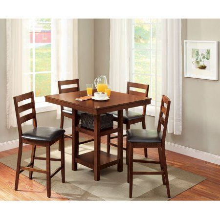 Famous Biggs 5 Piece Counter Height Solid Wood Dining Sets (Set Of 5) With Regard To Better Homes & Gardens Dalton Park 5 Piece Counter Height Dining Set (Gallery 11 of 20)