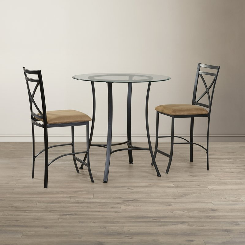 Famous Saleh 3 Piece Dining Set & Reviews (View 4 of 20)