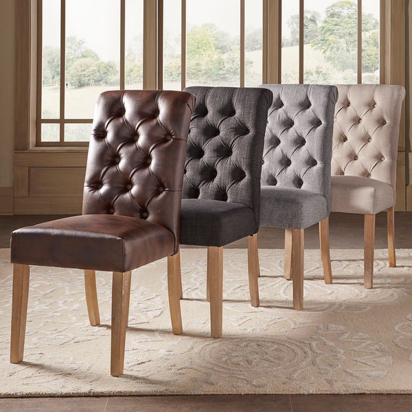 Famous Shop Benchwright Premium Tufted Rolled Back Parsons Chairs (Set Of 2 Intended For Evellen 5 Piece Solid Wood Dining Sets (Set Of 5) (Gallery 7 of 20)