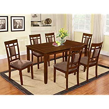Fashionable Amazon – 7 Piece Dining Set In Rich Cappuccino – Coaster – Table Pertaining To Smyrna 3 Piece Dining Sets (Gallery 20 of 20)