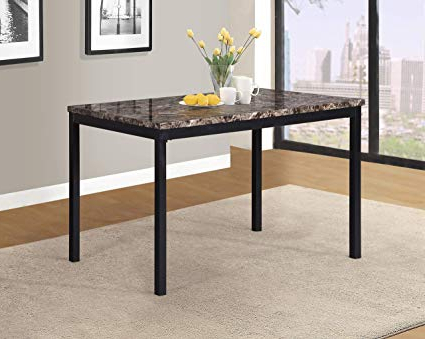 Fashionable Amazon – Roundhill Furniture T007 Noyes Metal Dining Table With With Regard To Noyes 5 Piece Dining Sets (Gallery 4 of 20)