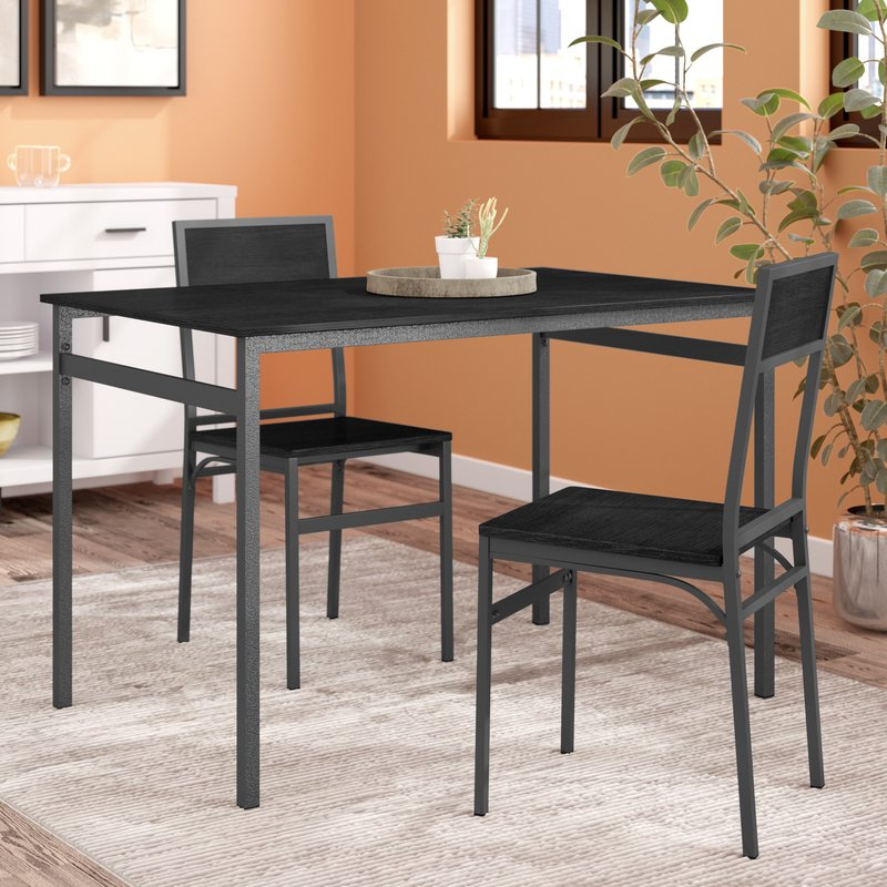 Fashionable Baillie 3 Piece Dining Sets Throughout Latitude Run Springfield 3 Piece Dining Set & Reviews (View 8 of 20)