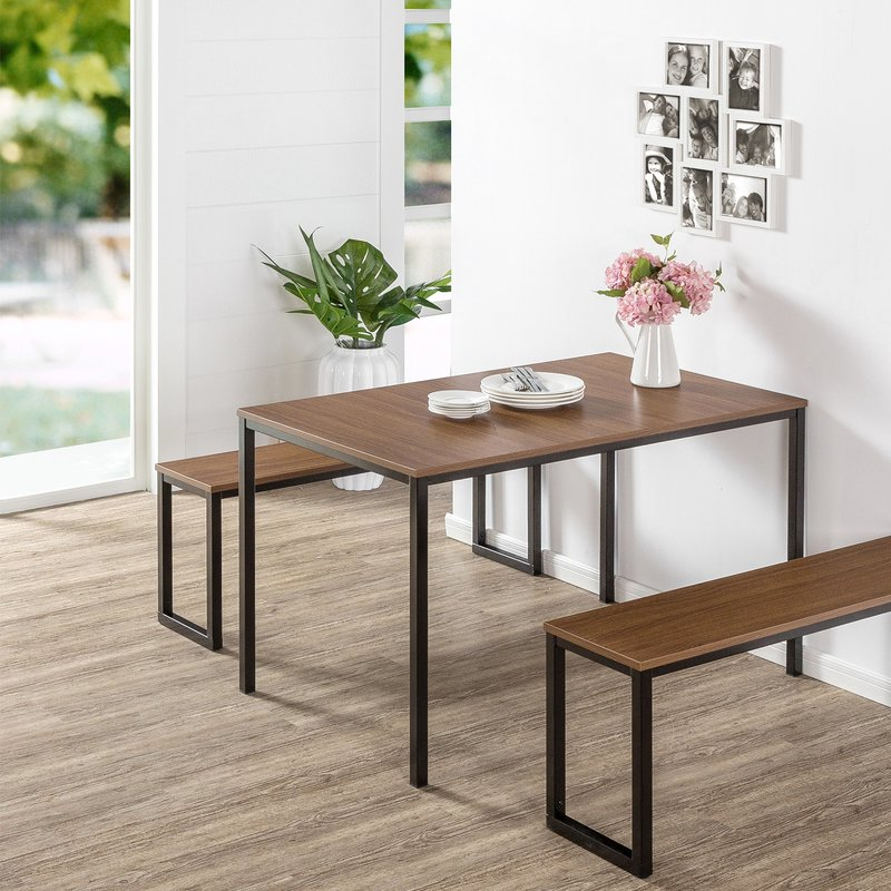 Fashionable Frida 3 Piece Dining Table Sets With Regard To Modern Rustic Interiors Frida 3 Piece Dining Table Set & Reviews (Gallery 3 of 20)