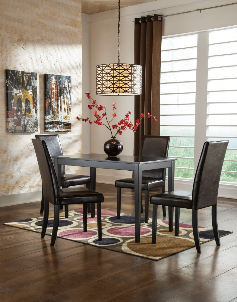 Fashionable Linette 5 Piece Dining Table Sets Regarding Kimonte Rectangular Table & 4 Uph Side Chairs (View 6 of 20)