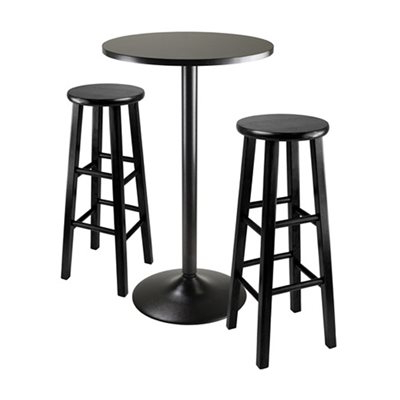 Fashionable Winsome Wood Obsidian 3 Piece Round Bar Height Pub Table Set In Winsome 3 Piece Counter Height Dining Sets (Gallery 20 of 20)