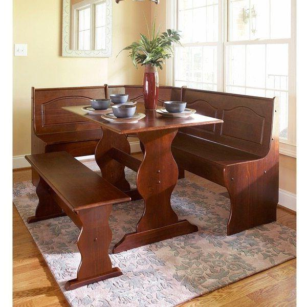 Favorite 3 Pc Walnut Wooden Breakfast Nook Dining Set Corner Booth Bench With 3 Piece Breakfast Nook Dinning Set (View 14 of 20)