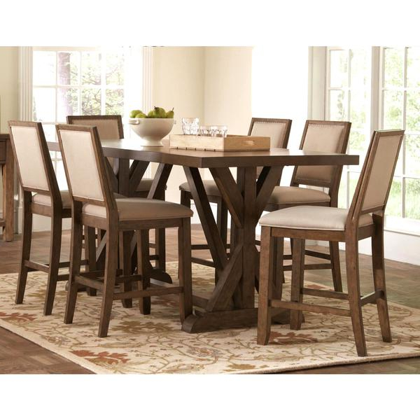 Favorite Wallflower 3 Piece Dining Sets With Regard To Shop Sontuoso Rustic Trestle Base European Design Counter Height 7 (Gallery 11 of 20)