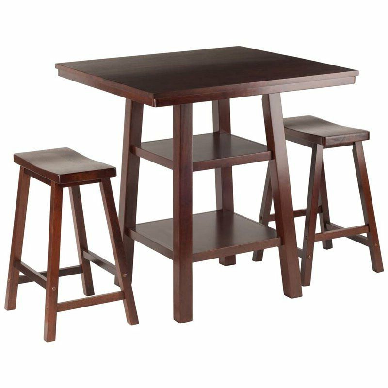 Favorite Winsome 3 Piece Counter Height Dining Sets With Winsome Orlando 3 Piece Square Counter Height Dining Set In Walnut (Gallery 12 of 20)