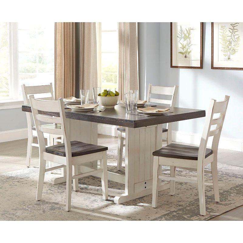 French Country White Two Tone 5 Piece Dining Set – Bourbon County With Newest 5 Piece Dining Sets (Gallery 16 of 20)