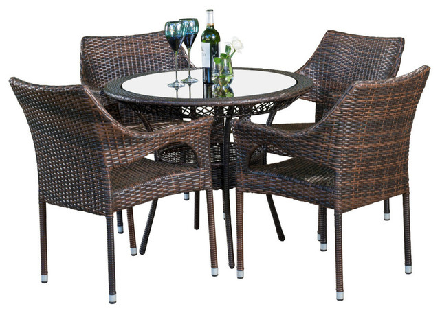 Gdf Studio 5 Piece Del Mar Outdoor Multibrown Wicker Dining Set With Popular Delmar 5 Piece Dining Sets (View 10 of 20)