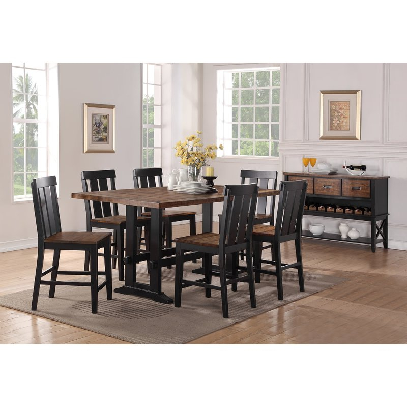 Gracie Oaks Goodman 7 Piece Counter Height Dining Set & Reviews For Most Popular Goodman 5 Piece Solid Wood Dining Sets (Set Of 5) (View 9 of 20)