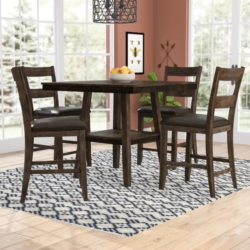 Handys Rutkowski 5 Piece Counter Height Solid Wood Pub Table Set With Regard To Well Known Bettencourt 3 Piece Counter Height Solid Wood Dining Sets (Gallery 9 of 20)