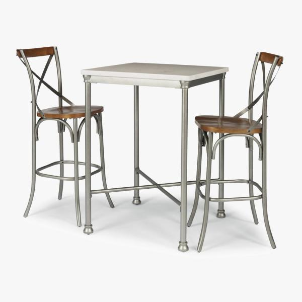 Home Styles Orleans 3 Piece White And Gray Bar Table Set 5060 358 Inside Well Known Penelope 3 Piece Counter Height Wood Dining Sets (View 5 of 20)