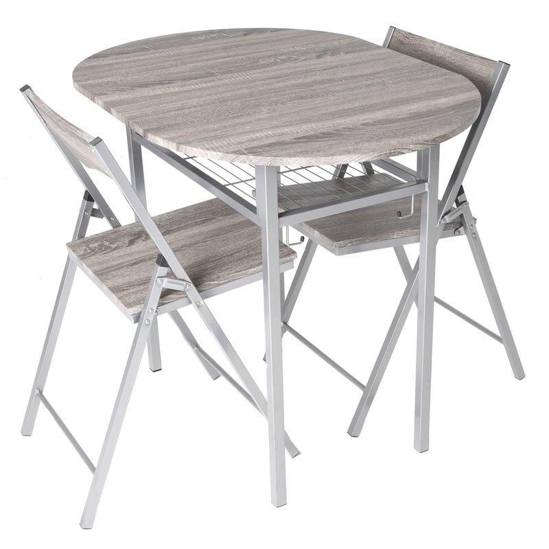 Honoria 3 Piece Dining Sets Regarding Fashionable Ebern Designs Horner Wood 3 Piece Drop Leaf Breakfast Nook Dining (View 6 of 20)
