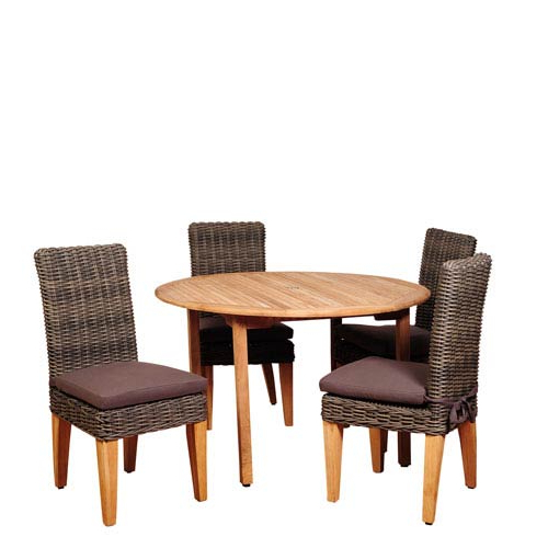 International Home Miami Amazonia Del Mar 5 Piece Teak/wicker Round Within Trendy Delmar 5 Piece Dining Sets (View 11 of 20)