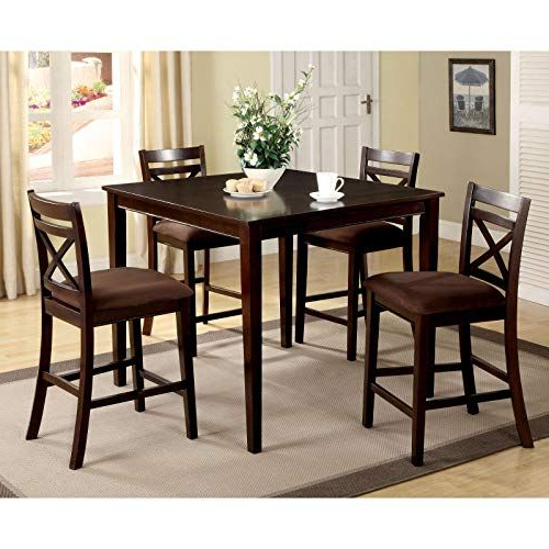 Jaxterrific Elegant 5 Piece Counter Height Table Set, Classic X With Regard To Most Current Hanska Wooden 5 Piece Counter Height Dining Table Sets (Set Of 5) (Gallery 8 of 20)