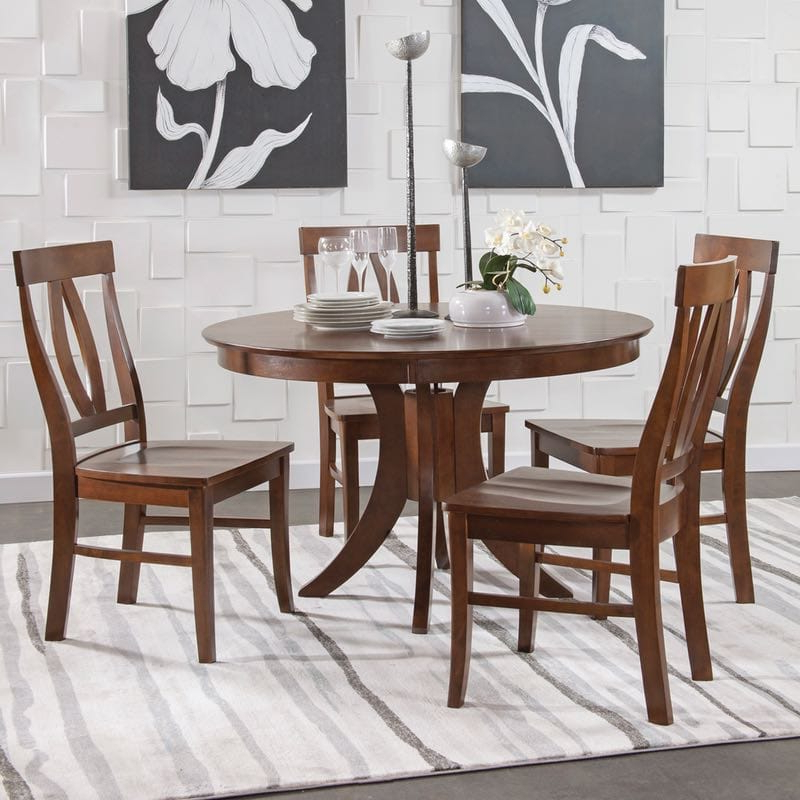 John Thomas Sienna Pedestal Dining Table Set In Espresso Intended For Most Recently Released John 4 Piece Dining Sets (View 11 of 20)