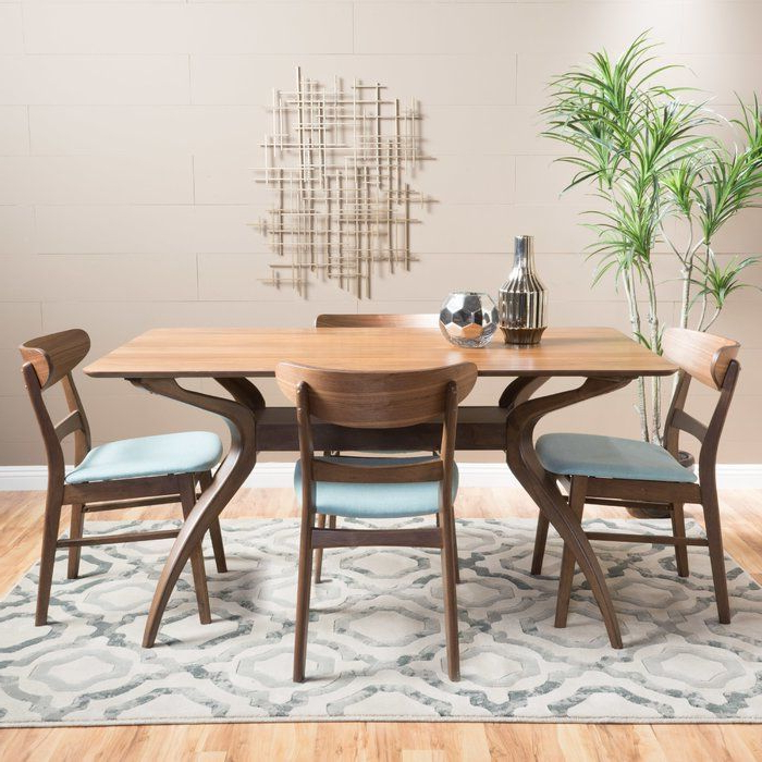 K&a Company Modern Style 5 Piece Dining Showcasing Mid Century Set Inside Newest Wiggs 5 Piece Dining Sets (View 11 of 20)