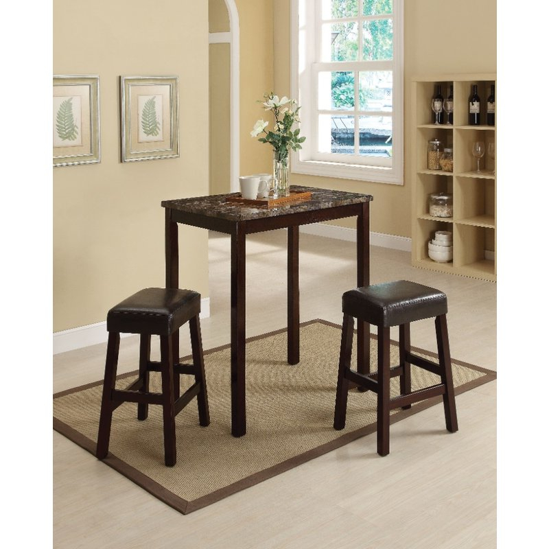 Kernville 3 Piece Counter Height Dining Sets For Well Liked Winston Porter Port Augusta 3 Piece Counter Height Solid Wood Dining (View 8 of 20)