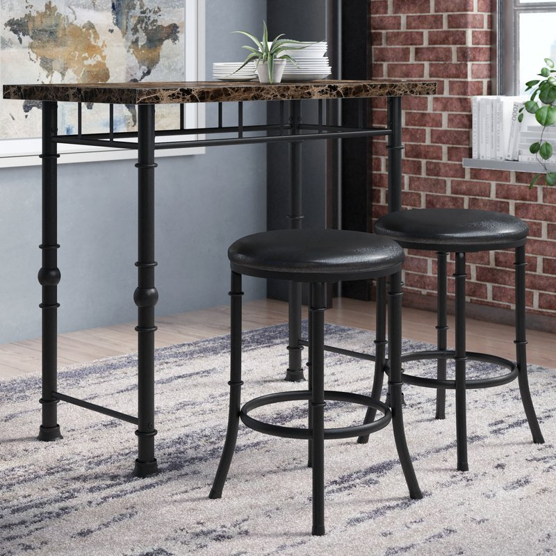 Kernville 3 Piece Counter Height Dining Sets In Widely Used Williston Forge Giles 3 Piece Dining Set & Reviews (Gallery 8 of 20)