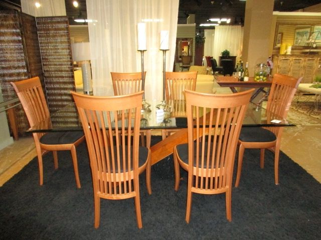Kernville 3 Piece Counter Height Dining Sets Within 2019 A. Sibau Glass Top Dining Table With Six Chairs. A (View 14 of 20)