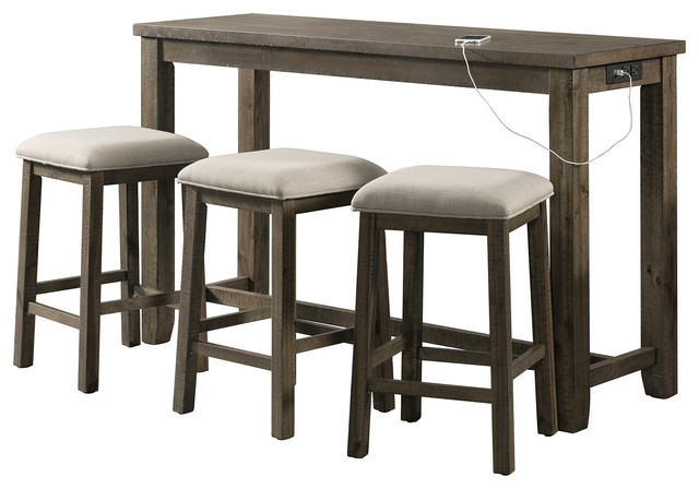 Kinsler 3 Piece Bistro Sets Pertaining To Trendy Stanford Multipurpose Bar Table Set, – Transitional – Indoor Pub And (View 6 of 20)