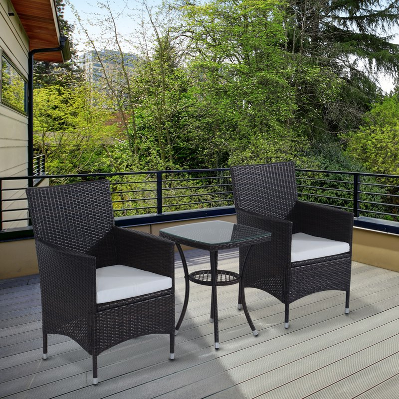 Kinsler 3 Piece Bistro Sets Throughout Fashionable Sol 72 Outdoor Kinsler 2 Seater Bistro Set With Cushions & Reviews (View 9 of 20)