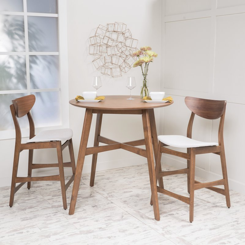 Langley Street Santa Cruz 3 Piece Counter Height Dining Set Intended For Current Moorehead 3 Piece Counter Height Dining Sets (View 6 of 20)
