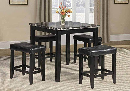 Latest 1Perfectchoice 5 Pc Counter Height Dining Square Black Faux Marble Within Hood Canal 3 Piece Dining Sets (View 14 of 20)