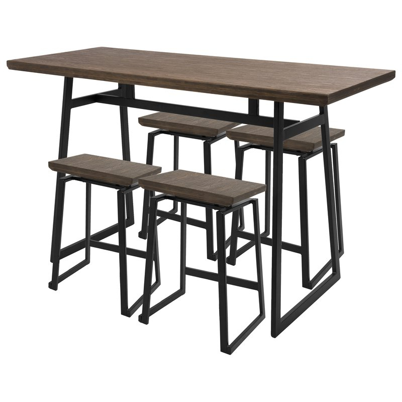 Latest Berrios 3 Piece Counter Height Dining Sets Intended For Cassiopeia Industrial 5 Piece Counter Height Dining Set & Reviews (Gallery 12 of 20)