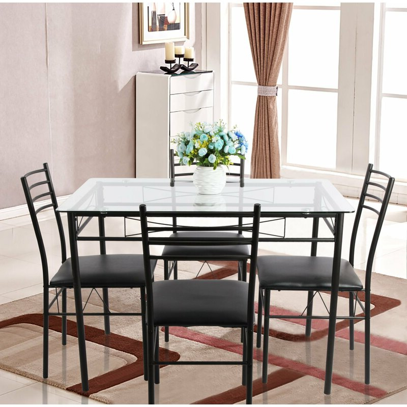 Latest Ebern Designs Lightle 5 Piece Breakfast Nook Dining Set & Reviews Throughout Lightle 5 Piece Breakfast Nook Dining Sets (View 12 of 20)