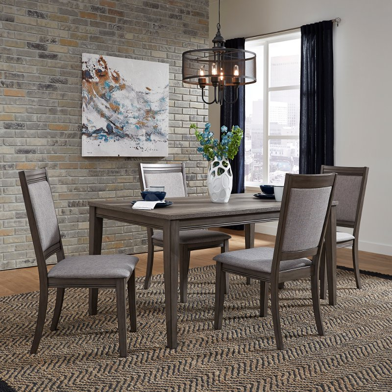 Latest Gray Urban Modern 5 Piece Dining Set With Upholstered Chairs Within 5 Piece Dining Sets (View 12 of 20)