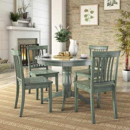 Latest Sundberg 5 Piece Solid Wood Dining Sets Pertaining To Lexington 5 Piece Dining Set With Round Table And 4 Mission Back (View 18 of 20)