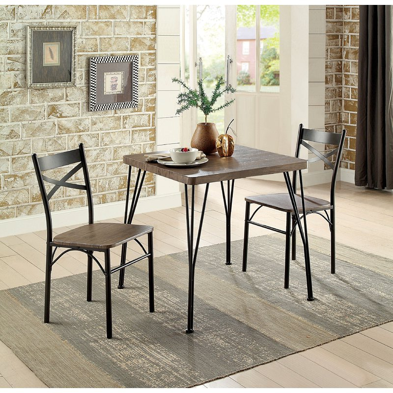 Laurel Foundry Modern Farmhouse Guertin 3 Piece Dining Set & Reviews Within Most Popular 3 Piece Dining Sets (Gallery 1 of 20)