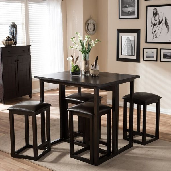 Leeds Brown Wood Collapsible Pub Table Set (View 15 of 20)