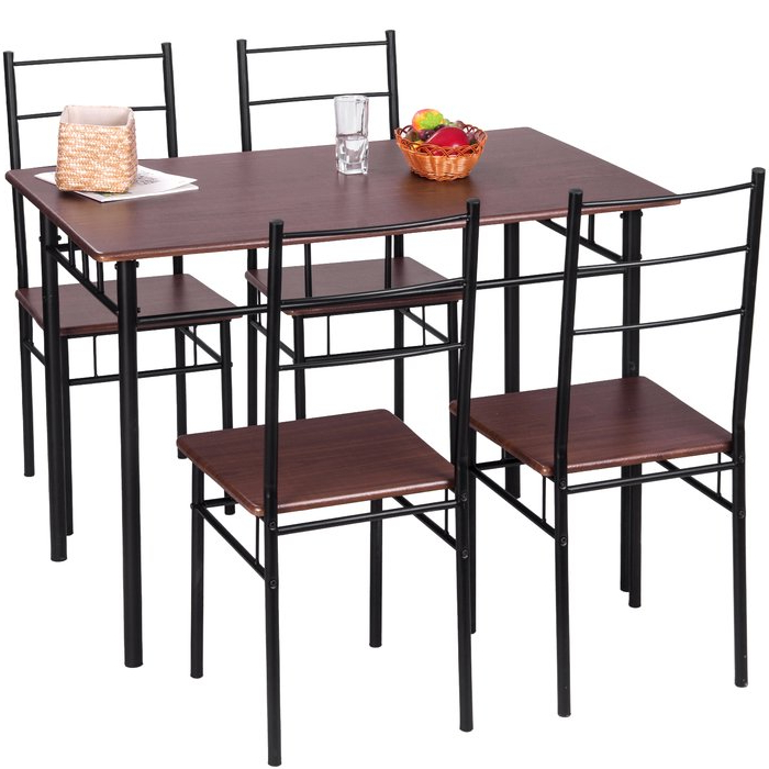 Liles 5 Piece Breakfast Nook Dining Sets Intended For Famous Merax 5 Piece Breakfast Nook Dining Set & Reviews (View 9 of 20)
